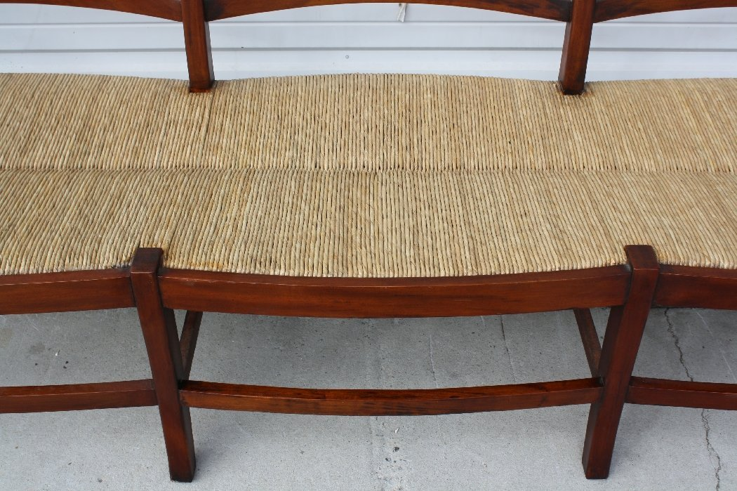 Mahogany ladder back rush seat bench - 5