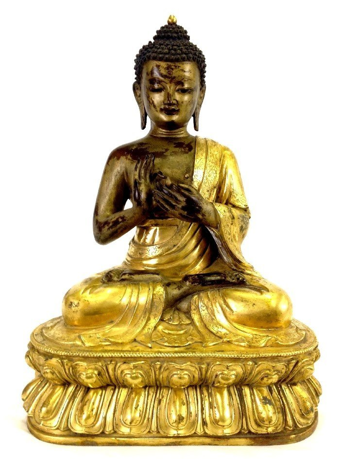 Qing Dynasty Fine Chinese Gilt Bronze Buddha