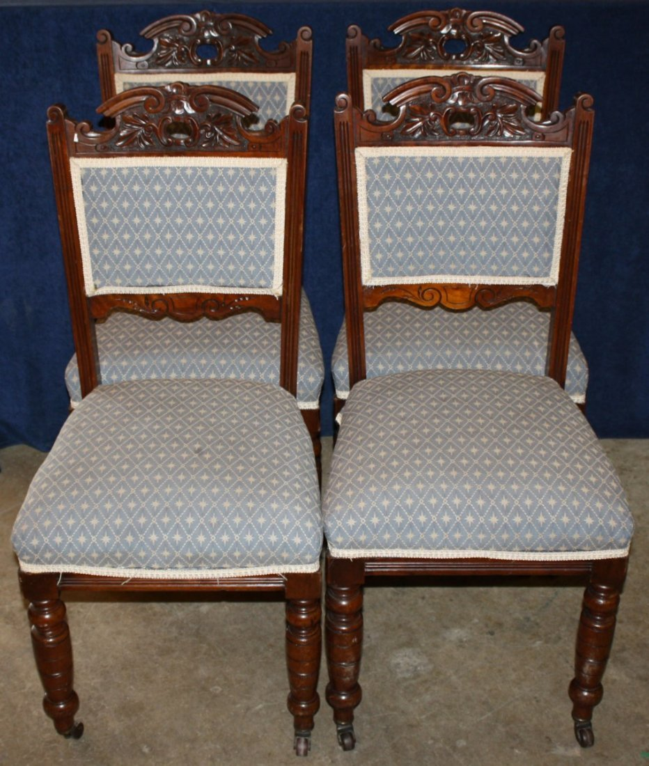 Set of 4 carved English side chairs in walnut