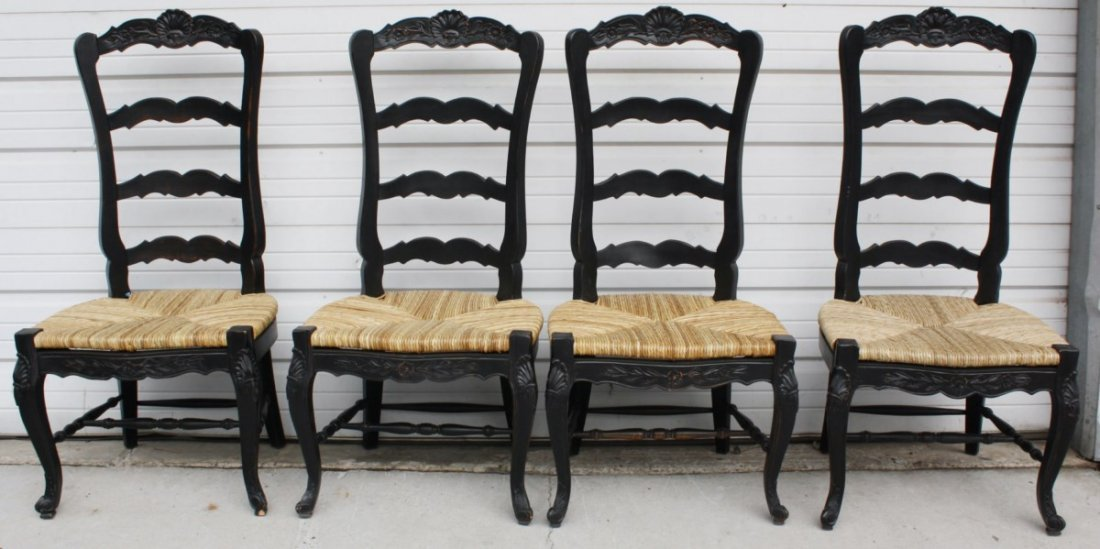 Set of 4 painted ladder back rush seat chairs