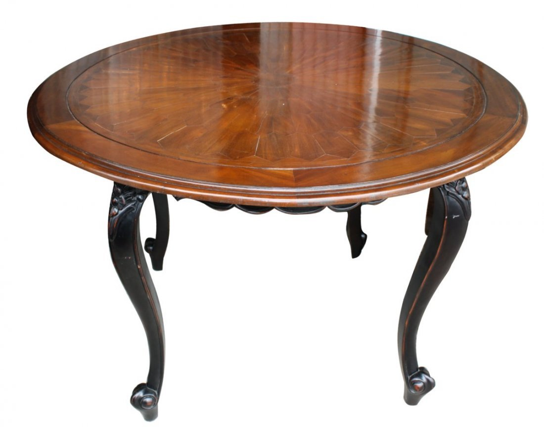 Parquet top round table on painted base.