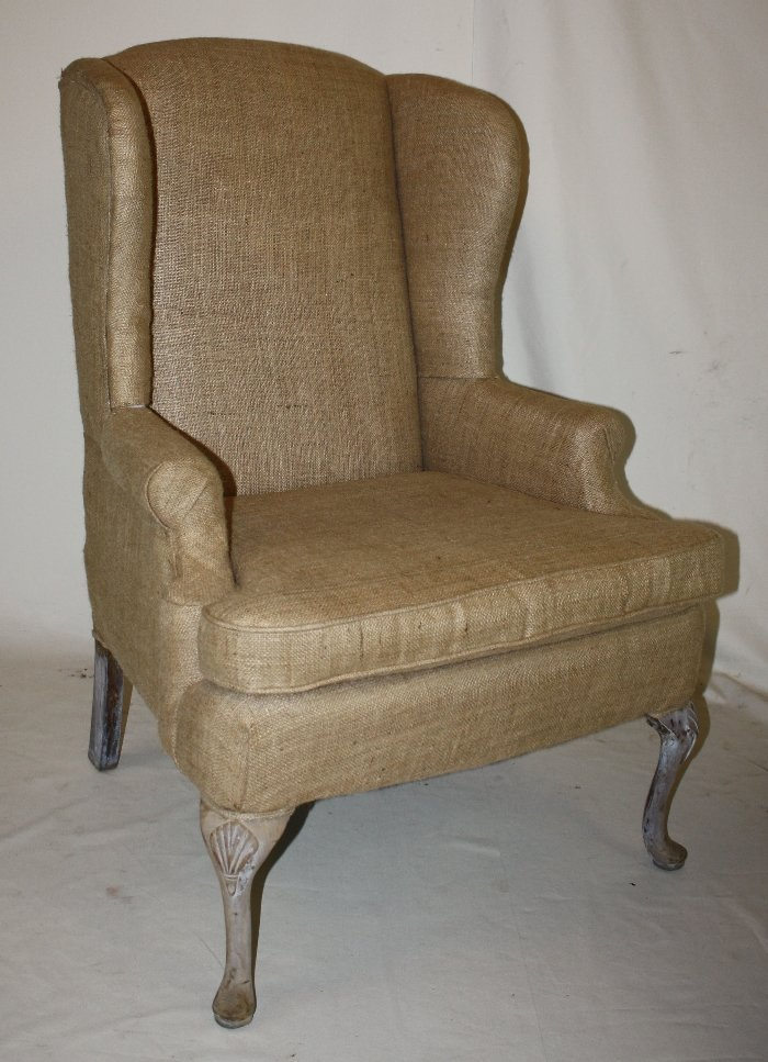 English wingback chair with burlap upholstery