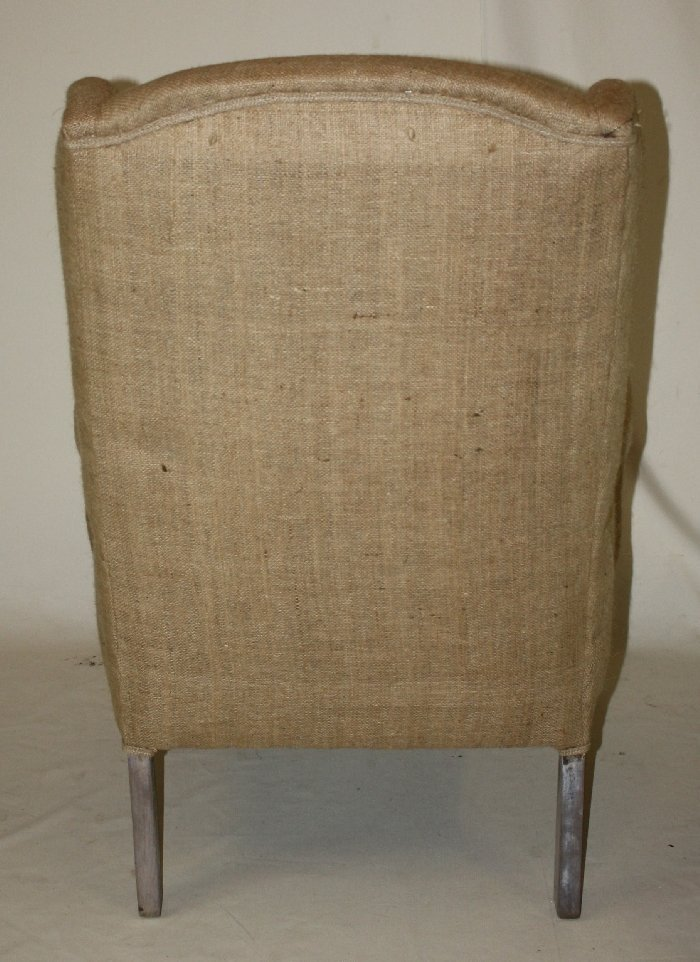 English wingback chair with burlap upholstery - 2