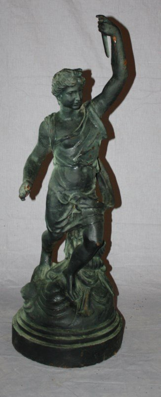 Cast iron statue Greek God Hymen with torch