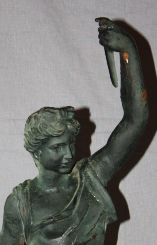 Cast iron statue Greek God Hymen with torch - 2
