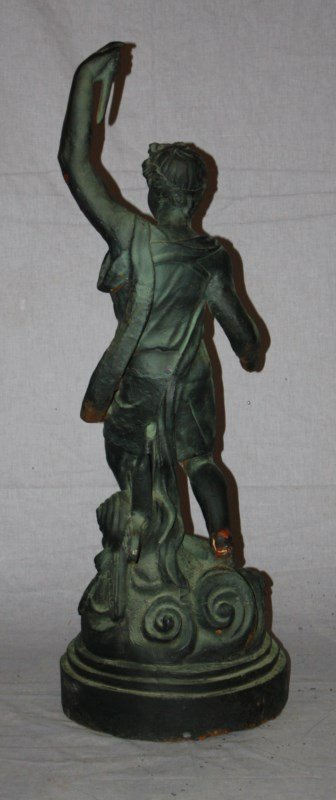Cast iron statue Greek God Hymen with torch - 4