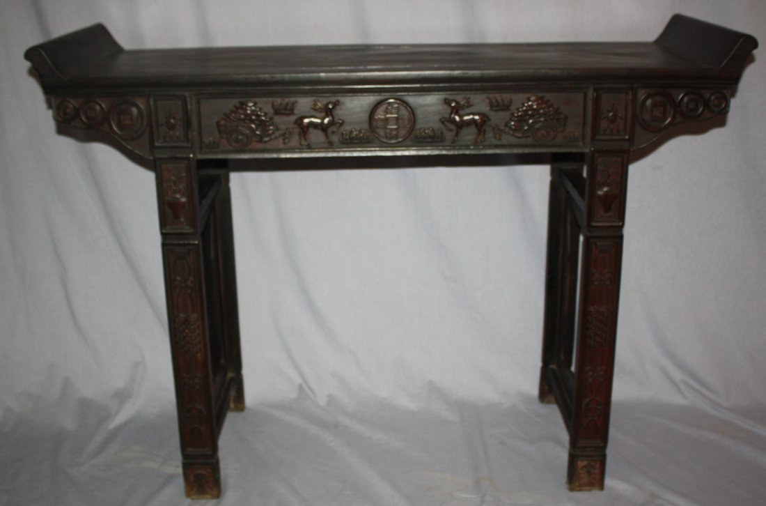 Chinese zitan altar table with carved deer pulling