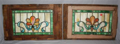 Lot of 2 American Victorian stained & leaded windows