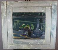 Oil on canvas still life in blues in rustic frame