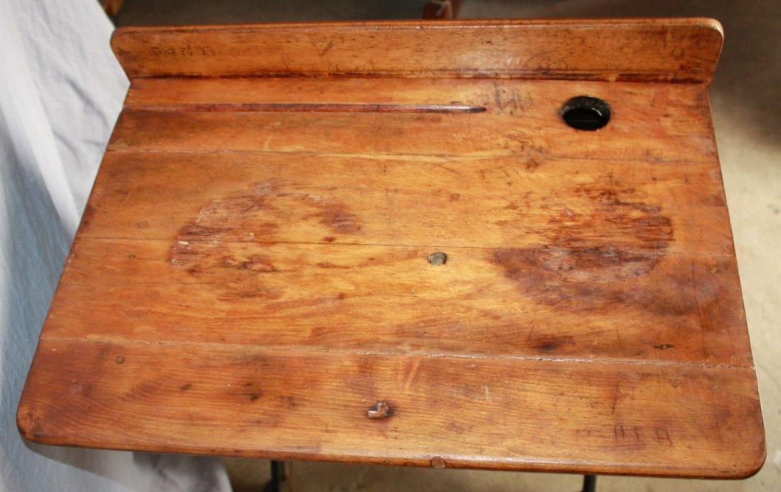 Antique American cast iron school desk AH Andrews - 3