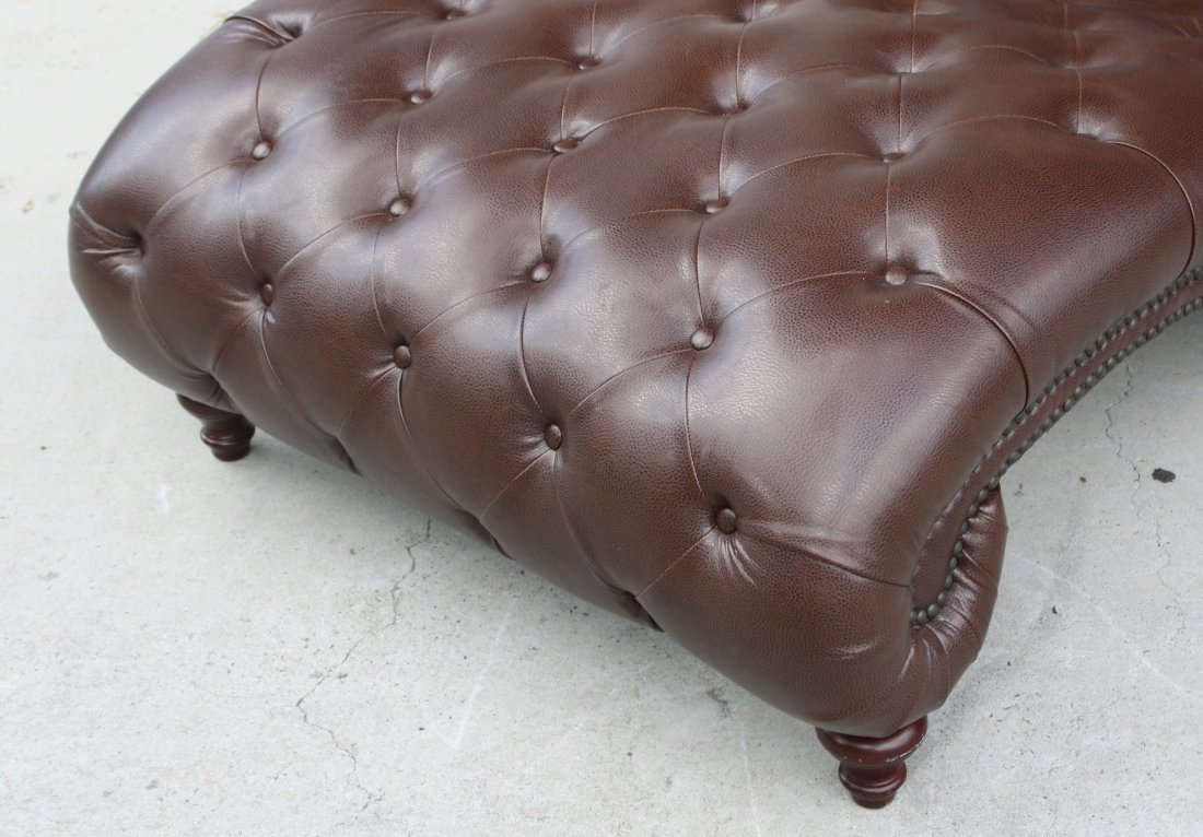 Tufted and studded leather double chaise lounge - 3