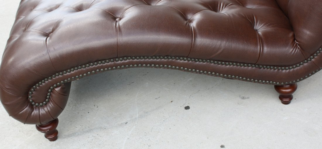 Tufted and studded leather double chaise lounge - 4