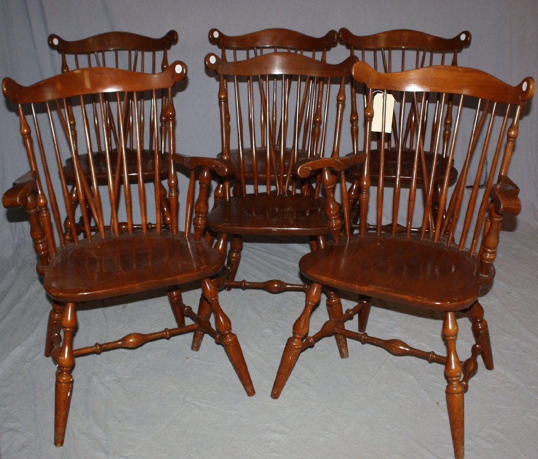 of 6 Temple Stuart Windsor chairs