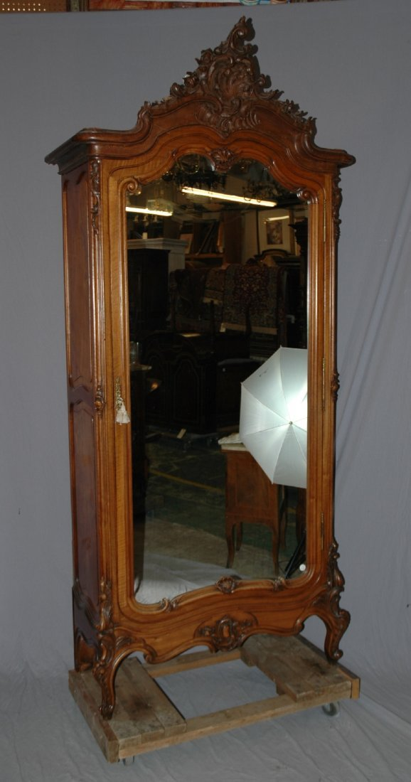 French Louis XV carved walnut single door armoire