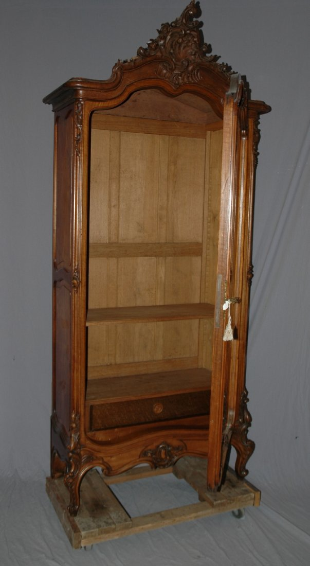 French Louis XV carved walnut single door armoire - 4