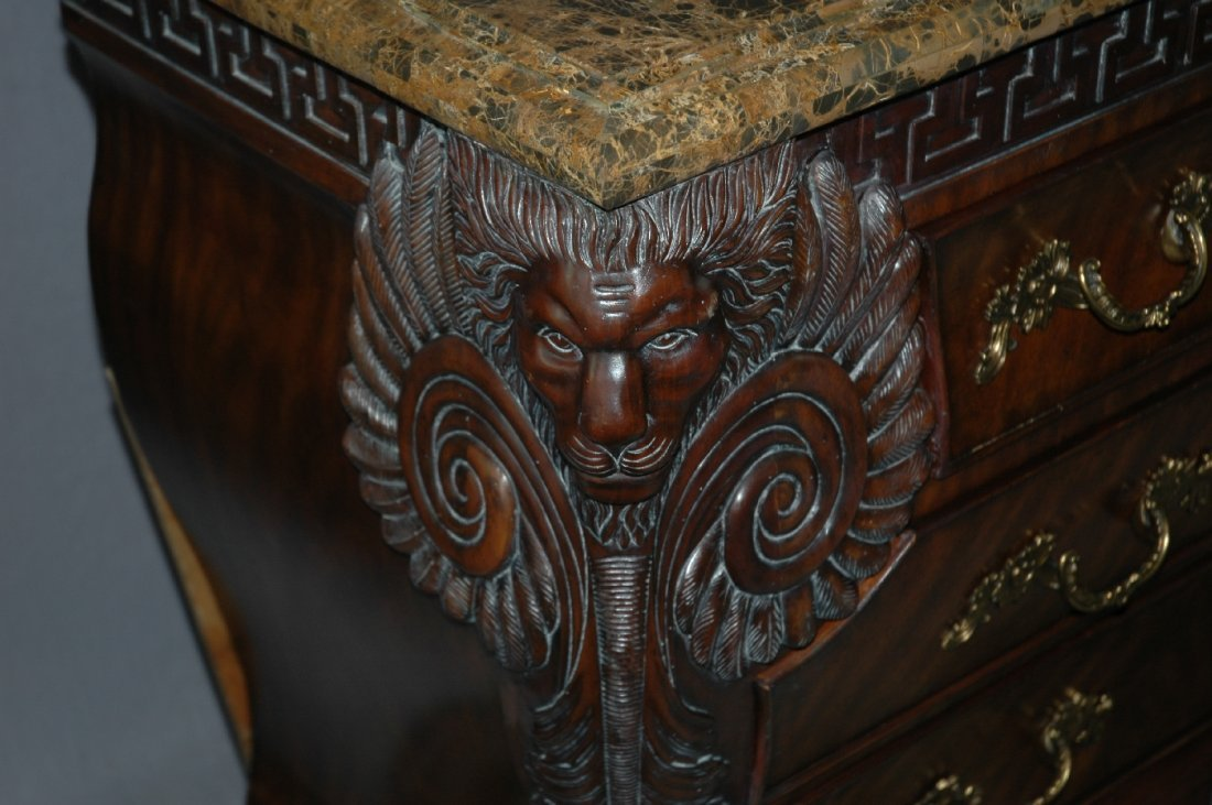 Maitland Smith 3 drawer marble top chest with lion head - 4