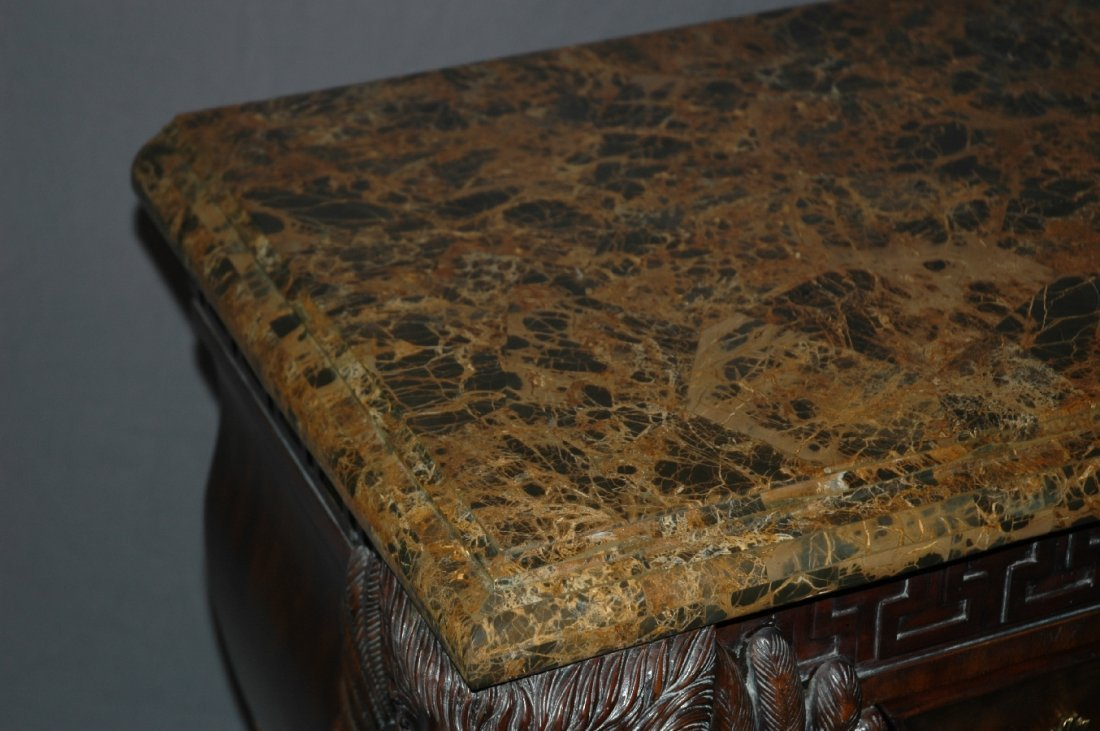 Maitland Smith 3 drawer marble top chest with lion head - 5