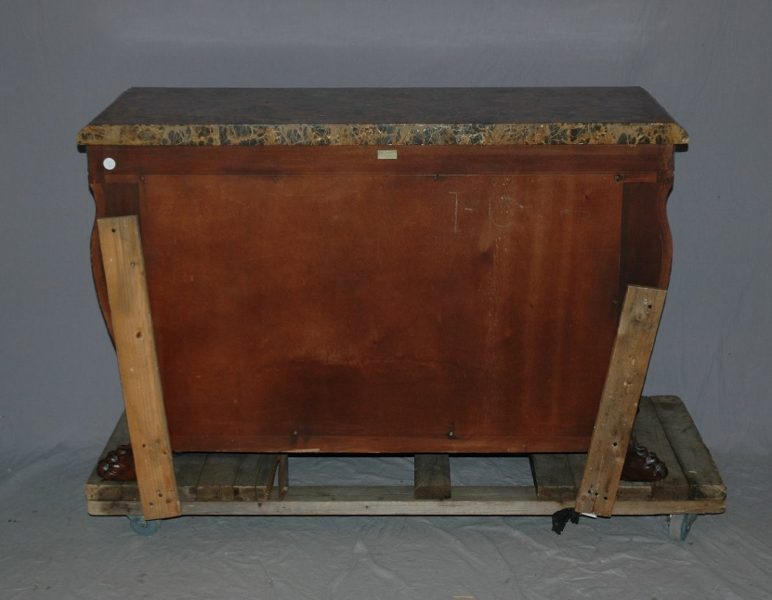 Maitland Smith 3 drawer marble top chest with lion head - 6