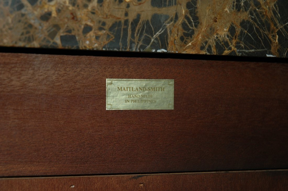 Maitland Smith 3 drawer marble top chest with lion head - 7