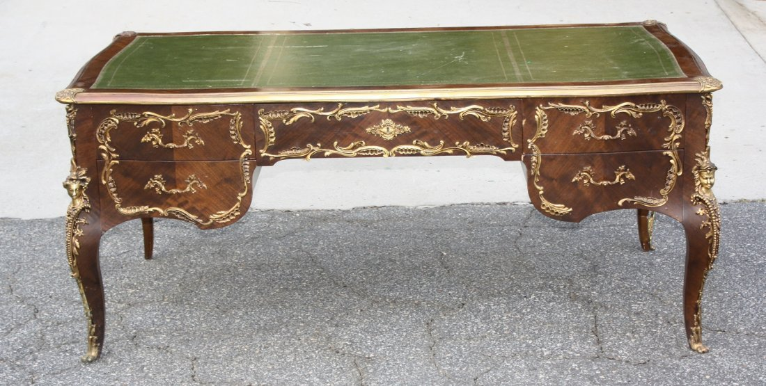 French Louis XV style bronze mount bureauplat desk