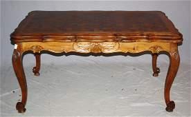 French Louis XV draw leaf table in walnut