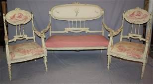 Painted Louis XV style 3 piece parlor set