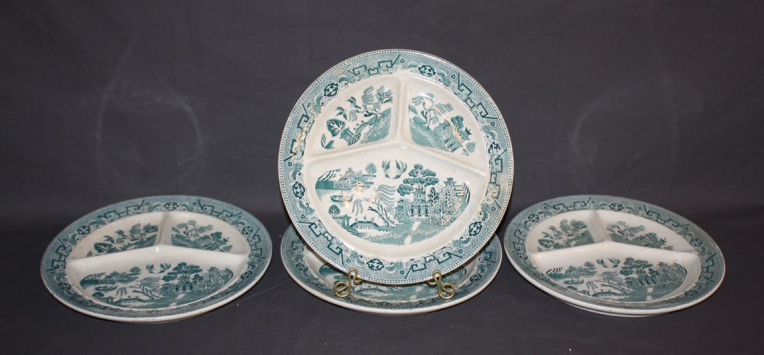 Lot of 4 Green Willow divided plates
