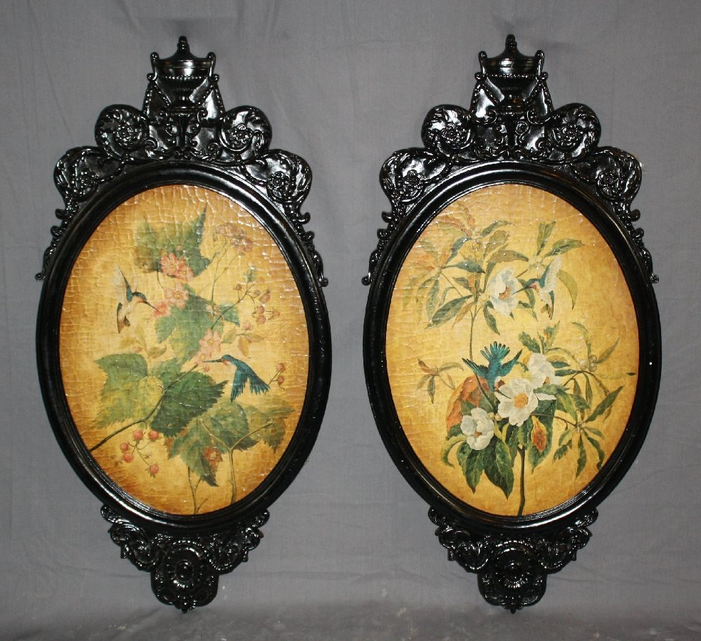 Pair of Louis XVI style oval wall plaques