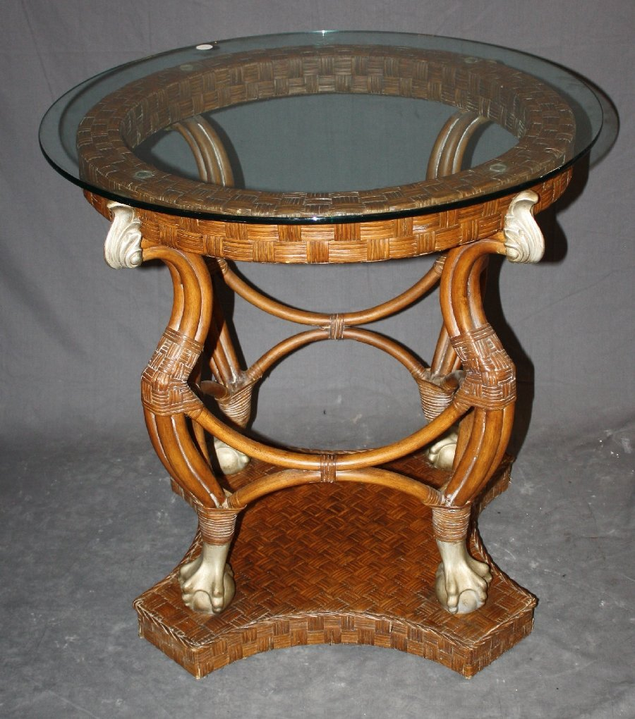 Small round rattan table with glass top