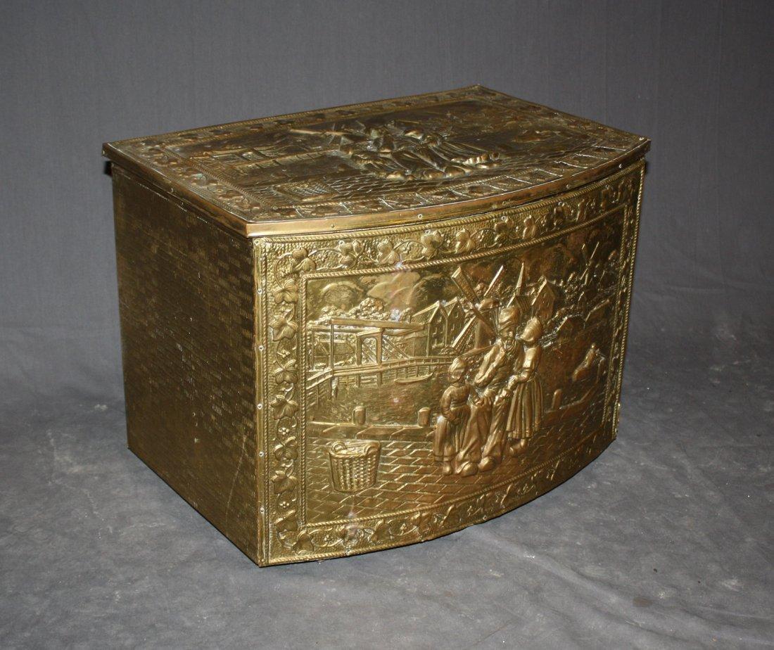 Embossed brass kindling box
