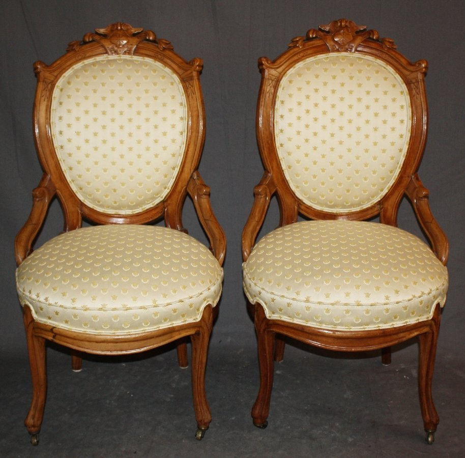 Pair of Victorian balloon back parlor chairs