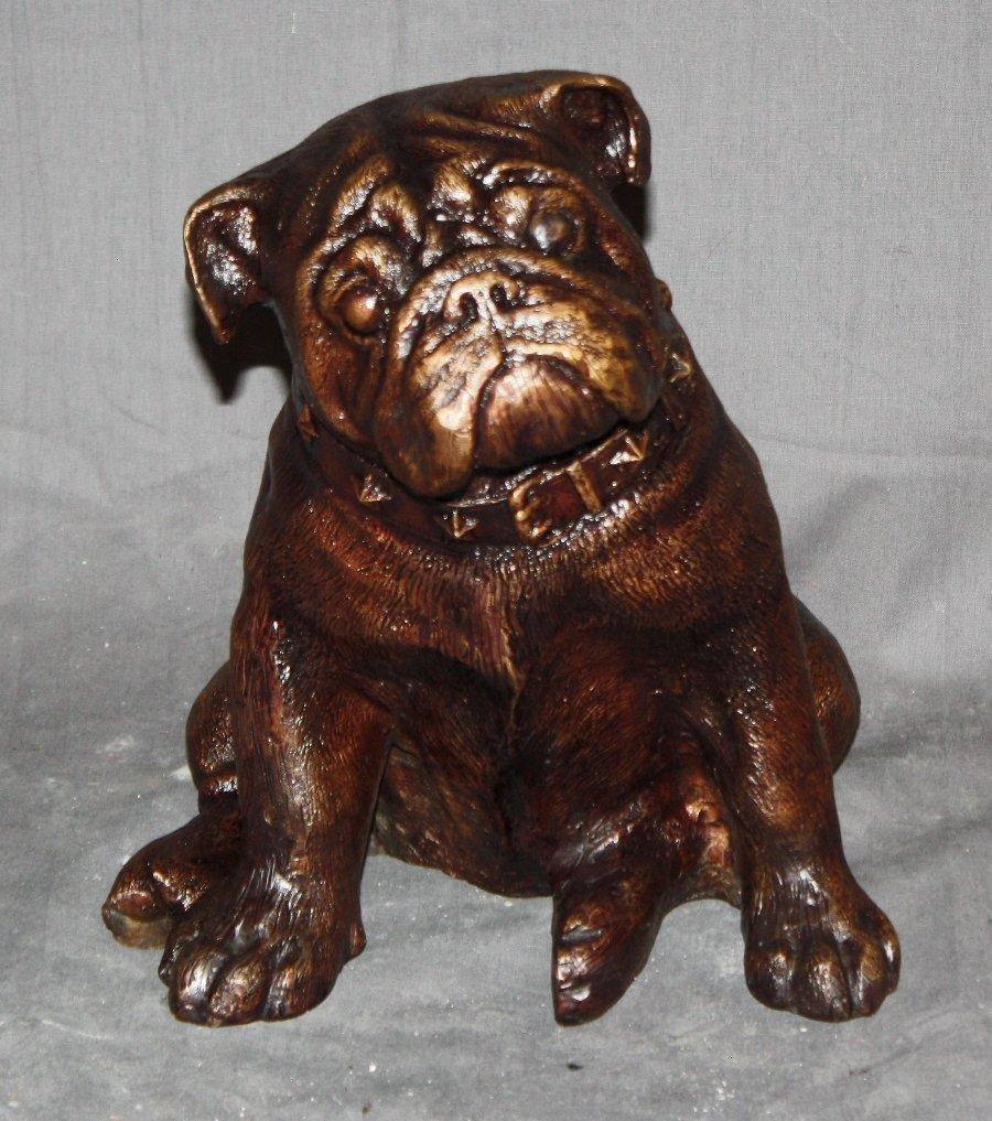 Bronze statue of a Bulldog puppy