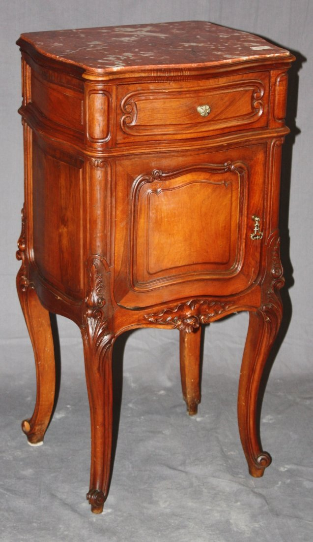 French Louis XV chevet in walnut wih marble top