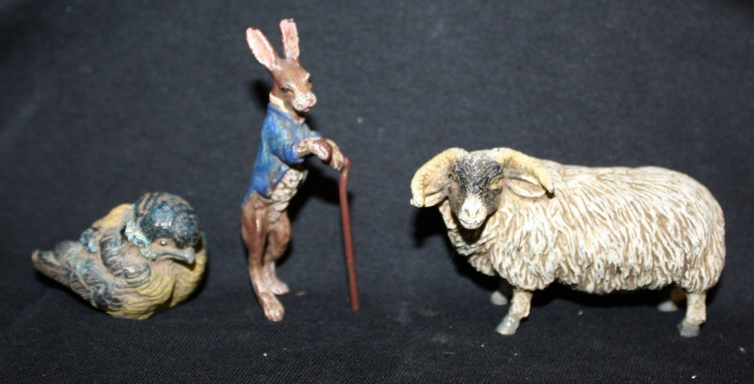 Lot of 3 Austrian cold painted bronze figurines