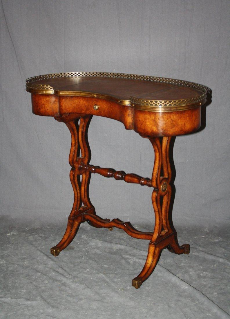 Kidney shaped burled harp base writing table