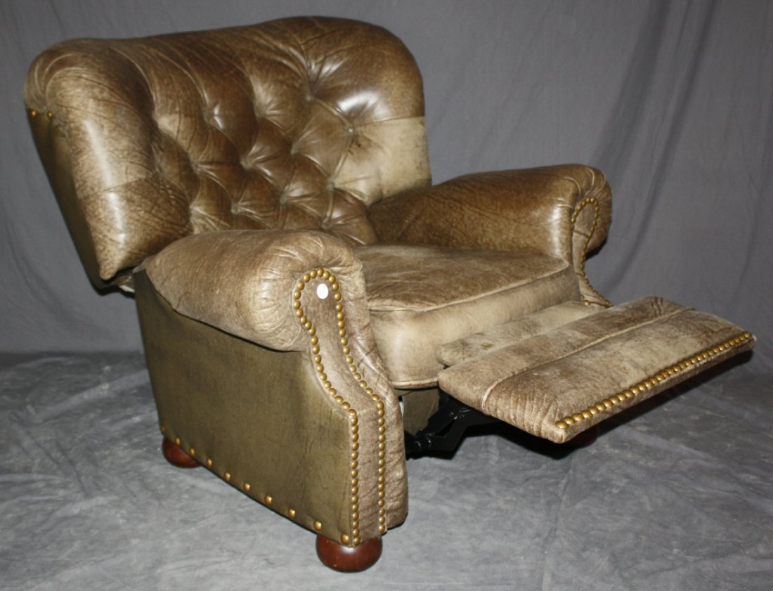 Tufted & distressed leather reclining armchair by Lane - 3