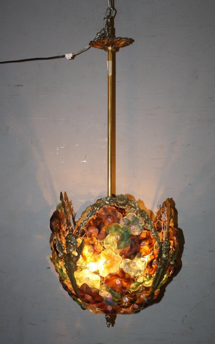 Venetian glass flowers floriform basket chandelier