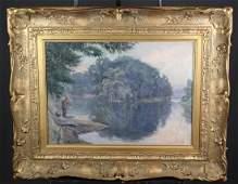 Albert Malet oil on board lake with fisherman