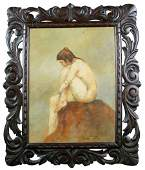 Bernard Leduc oil on board depicting seated female nude