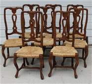 Set of 8 French Provincial style side chairs with rush