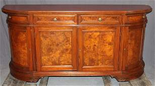 Tuscan style curved side sideboard with burl panels