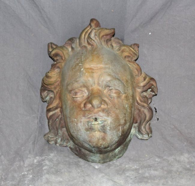 Italian bronze figural fountain head