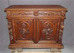French Louis XIII carved oak buffet bas