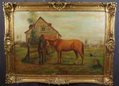 Oil on canvas pastoral with horse