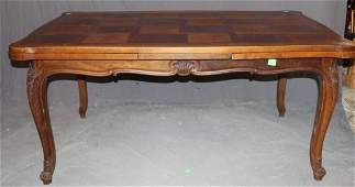 French Louis XV walnut draw leaf table with parquet top