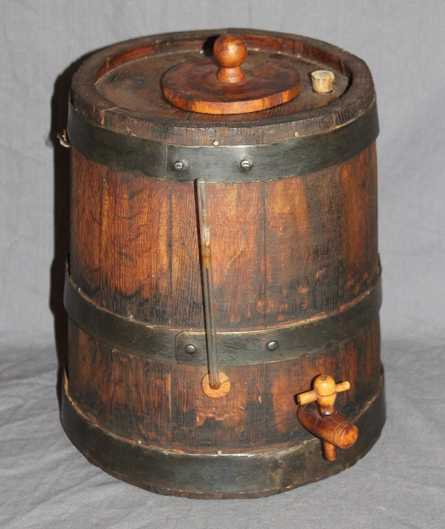 Rustic French oak vinegar barrel with spigot