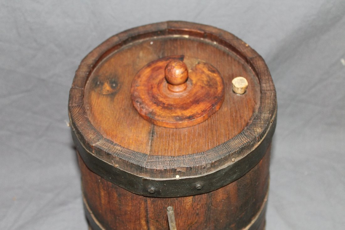 Rustic French oak vinegar barrel with spigot - 2