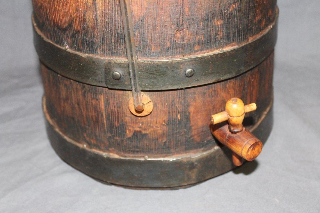 Rustic French oak vinegar barrel with spigot - 3