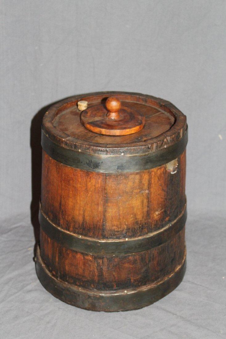 Rustic French oak vinegar barrel with spigot - 4