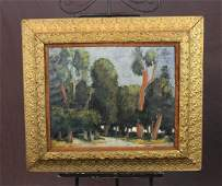 Oil on canvas landscape with trees